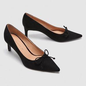Zara Black Velvet Pumps Size 7.5 NWT